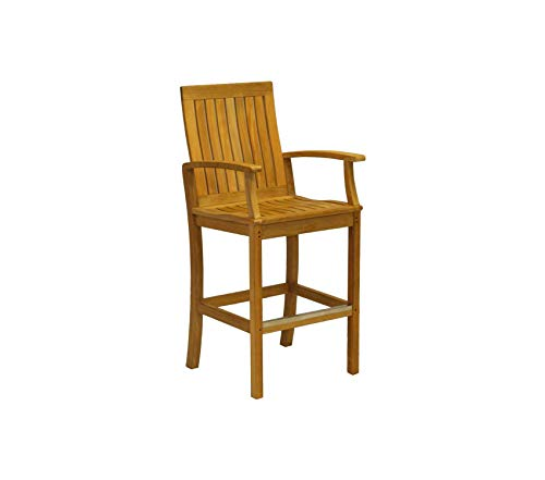 Wood & Style Patio Outdoor Garden Premium Monterey Bar Chair with Arms, Teak