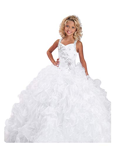 Wenli 2017 Flower Girls Rhinestones Ruffles Ball Gowns Pageant Dresses 8 US White