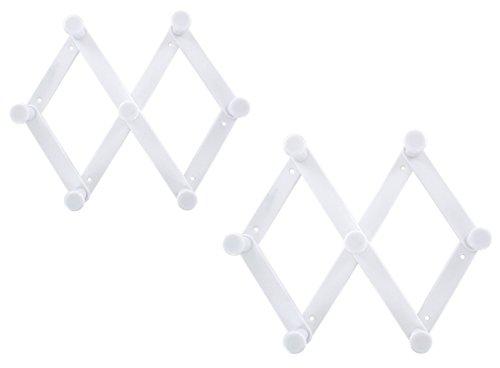 Set of 2 ALAZCO Accordion Style 7-Pegs White Plastic Expanda
