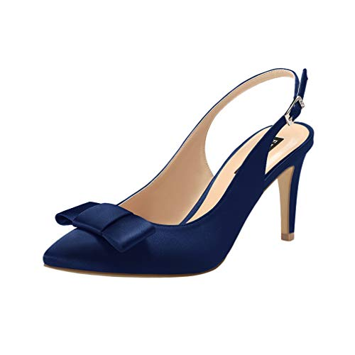 (ERIJUNOR E2415 Pointy Toe Pumps Mid Heels Wedding Evening Party Prom Slingback Satin Shoes Navy Size 7)