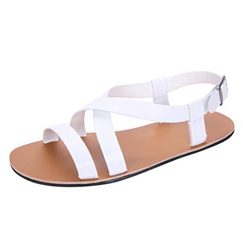 Unisex Men Flip Flops Sandals Summer Gladiator Roman Criss Cross Ankle Straps Buckle Shoes (US:9.5, White) ()