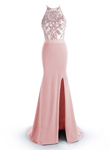 ALAGIRLS Sexy Mermaid Prom Dress Embroidery Long Evening Dress Split Pink US6