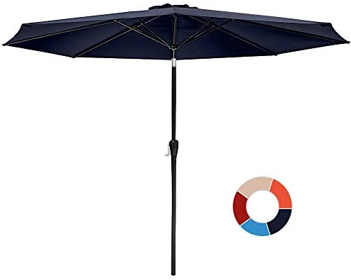 JIESSIWONG Patio Outdoor Umbrella 10Ft Market Table Umbrellas Wing Vent with Push Button Tilt and Crank, 8 Sturdy Square Ribs 10 FT, Navy