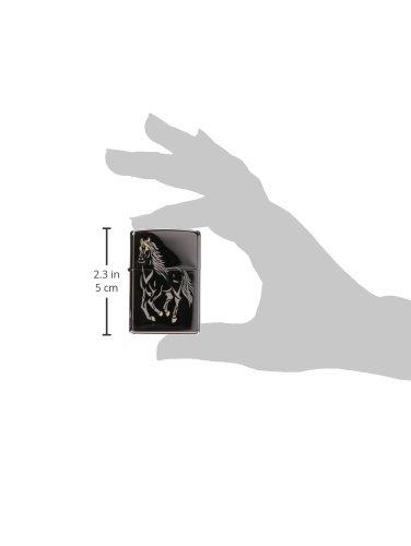 Zippo Horse Pocket Lighter, Black Ice