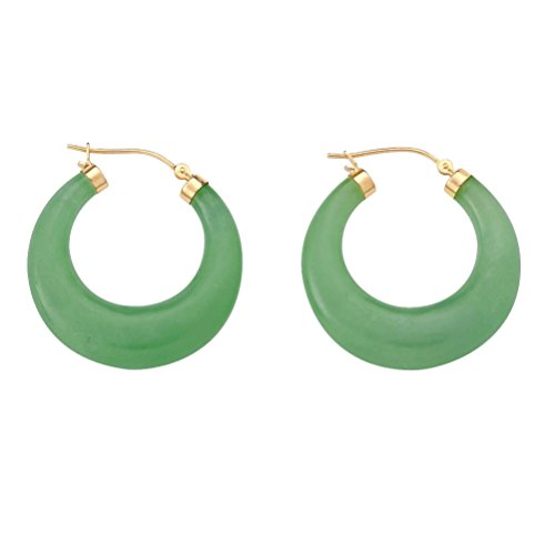 Genuine Green Jade Hoop Earrings in 14k Gold Tone over Sterling Silver (18mm)