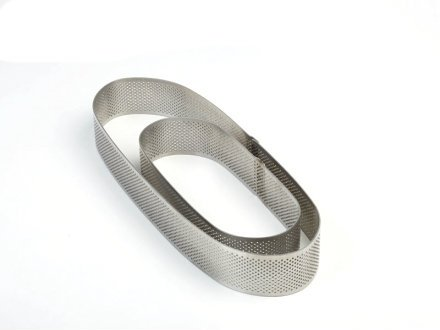 Pavoni Microperforated Stainless Steel Oval Tart Ring Height: 1.4'', 3.5''x11.5''
