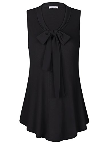 Youtalia Chiffon Blouses Women, Girls Summer Curved Hem V Neck Office Wear Casual Shirts Sleeveless Tunic XX-Large Black