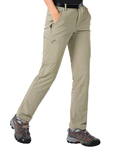 - MIER Women's Outdoor Hiking Travel Cargo Pants Lightweight Stretch Active Pants with 4 Zipper Pockets, Quick Dry, Rock Grey, M