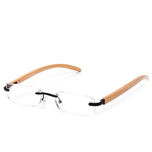 Doober Unisex Rimless Wood Bamboo Metal Reading Glasses +1 +1.5 +2 +2.5 +3.0 +3.5 (Wood, - Small Reading Glasses Rimless
