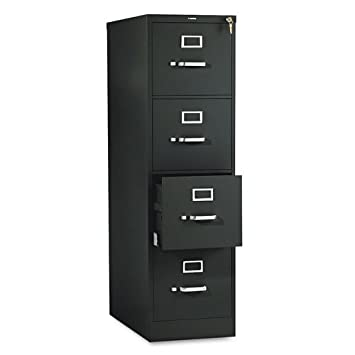 HON 4-Drawer Letter File - Full-Suspension Filing Cabinet with Lock - 52 by 25-Inch Black (510 Series - Model 514PP