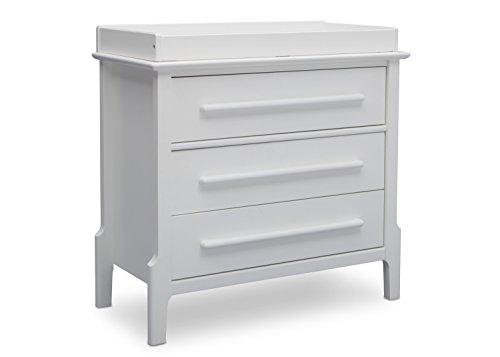 Serta Mid Century Modern 3 Drawer Dresser with Changing Top, Bianca White -