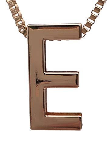Jiary 26 Letters Alphabet Initial Necklace Charm Rose-Gold Pendants Ring Chain for Women Girls Men (E)