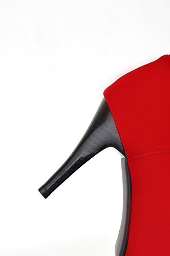 Round PU Stiletto 5 Womens Red Heels Flower US Boots Closed 5 M and AmoonyFashion High with B Solid Toe Y4EBYqw