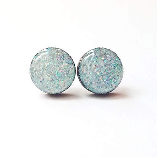 Icy blue gray iridescent glitter wooden stud earrings surgical steel post