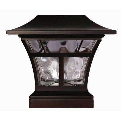 Hampton Bay Solar Powered Outdoor Mediterranean Bronze Integrated LED 3000K Warm White Landscape Post Cap Light