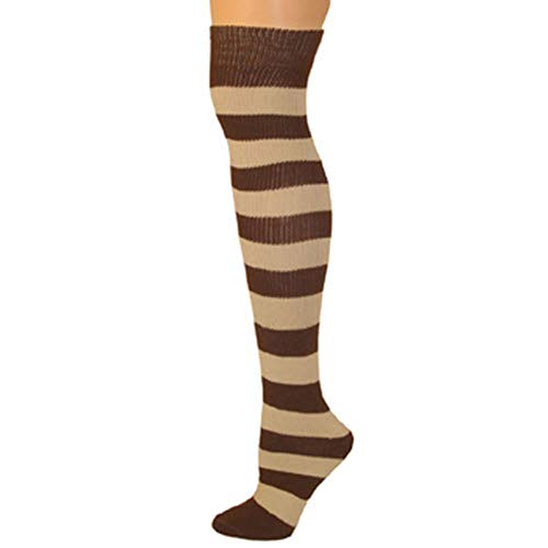 AJs Adult Long Classic Knee High Striped Socks - Brown/Beige, Sock size 11-13, Shoe Size 5 and up