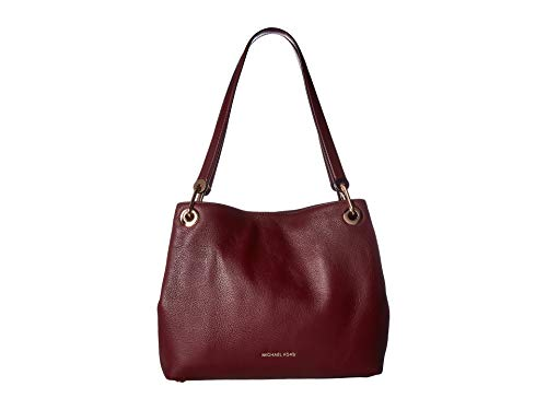 Triple Laptop Compartment Bag Leather - Michael Kors Women's Raven Large Leather Shoulder Bag (Oxblood)