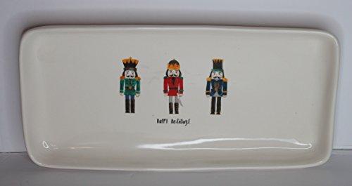 Rae Dunn Magenta Ceramic Rectangle Serving Platter Plate Nutcracker Men Cursive Happy ()