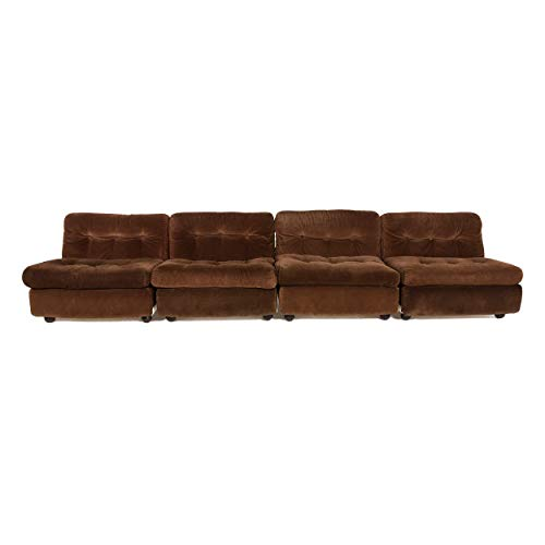 B & B Italia Amanta Designer Fabric Sofa Brown Four Seater Couch