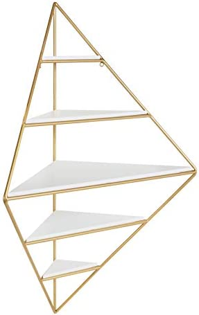 Kate and Laurel Melora Modern Glam Corner Wall Shelf with Gold Frame and Wood Shelves, White
