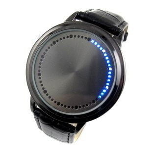 White & Blue LED Digital Touch Screen Watch, Classic Creative Fashion Faux Leather Band Wrist Watches (Blue Light)