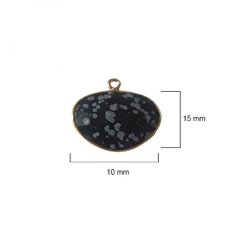 Snowflake Obsidian Oval 10X15mm by BESTINBEADS I Snowflake Obsidian Oval Bezel I Snowflake Obsidian Oval Pendant Pendant Gold I Bezels Connectors I Snowflake Obsidian Oval Cabochon