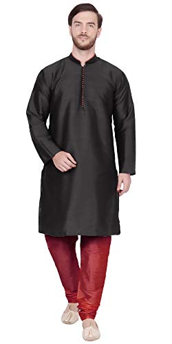 SKAVIJ Men's Tunic Kurta Pajama Set Traditional Dress (Medium, Black)