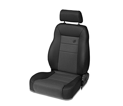 Bestop 39461-15 TrailMax II Pro Black Denim Front Vinyl with Fabric Insert High Back Driver-Side Jeep Seat for 1976-2006 Jeep CJ and ()