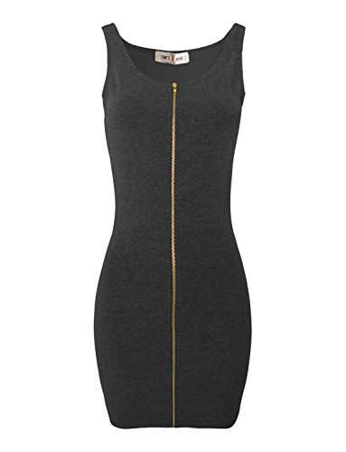 TAM Ware Women Slim Fit Zip Up Bodycon Mini Dress TWCWD079-CHARCOAL-US M