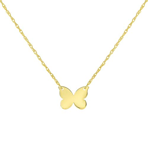 (14k Yellow Gold Mini Butterfly Necklace with Spring Ring Clasp (16