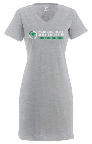 Tcombo Achievement Unlocked Motherhood - Gamer Geek Women's Nightshirt (Light Gray, XX-Large/XXX-Large)