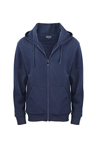 Men's Solid Full Zip Classic Casual Active Fleece Hoodie s Navy M