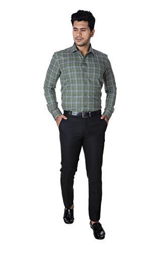 MARK & ALBERT Men's Regular Fit Black Formal Trousers