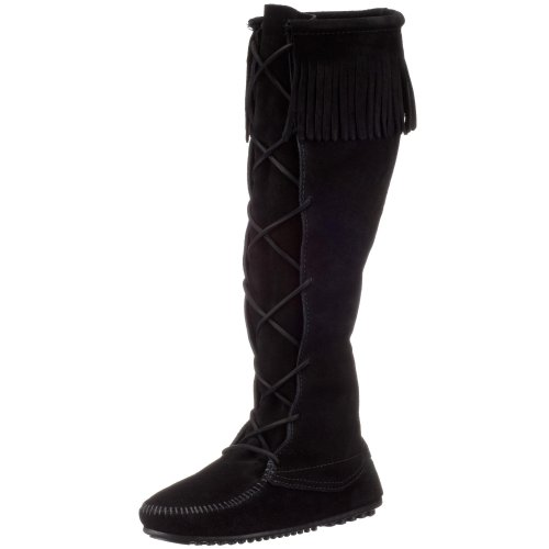 Minnetonka Women's Front Lace Knee-Hi Boot,Black,10 M US - Knee High Moccasins