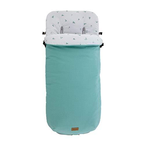 Kiwisac Saco de Entretiempo Universal Sweet Mint para Carro de Bebe con Cremallera Lateral Saco Silla de Paseo Color Menta 94x45 cm