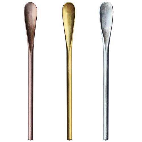5 inch 3 pcs 304 Stainless Steel Coffee Stir Sticks, Cocktail Spoons, Beverage/Drink Stir Spoons, Tea Spoon with Short…
