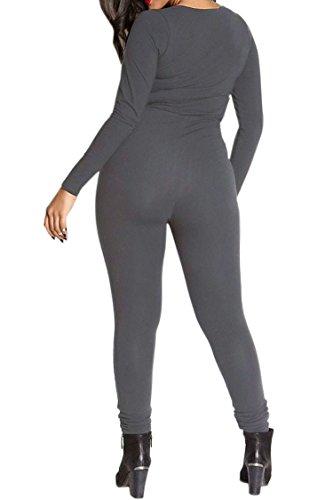 Fixmatti Womens Zip up V Long Sleeve Bodycon Cotton Long Pant Sport Jumpsuit Romper Grey XL by Fixmatti (Image #2)