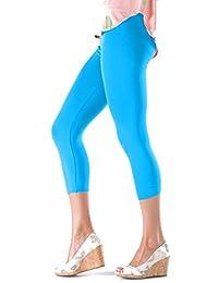 Lush Moda Seamless Capri Length Basic Cropped Leggings - Variety of Colors - Aqua- OS