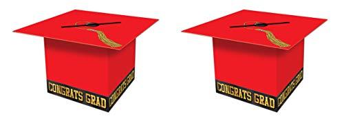 (Beistle S57393-RAZ2 Graduate Cap Card Boxes 2 Piece, 8.5
