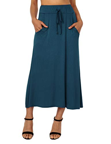 DJT FASHION Women's High Waisted A Line Skirt Skater Pleated Full Midi Skirt X-Large Powder Blue