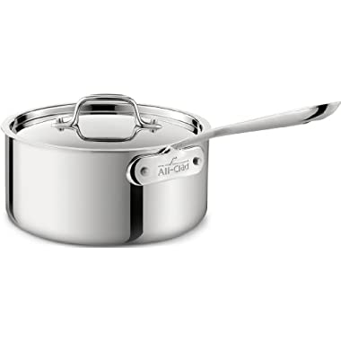 All-Clad 4203.5 Stainless Steel 3-Ply Bonded Dishwasher Safe Sauce Pan with Lid Cookware, 3.5-Quart, Silver