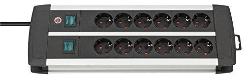 Brennenstuhl Premium-Alu-Line 12-voudige stekkerdoos – verdeeldoos van hoogwaardig aluminium (stekkerblok met 2…