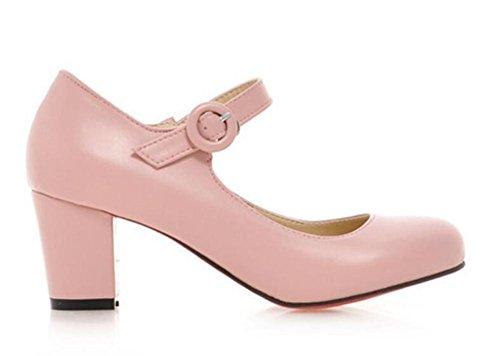 tacco basso PINK Fibbia di aiutare punta tonda di dimensioni primavera svago per grandi donna scarpe alto 40 col XIE pattini 42 i white 1tn8nf