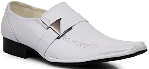 Enzo Romeo Stone Men's Dress Loafers Elastic Slip on with Bu