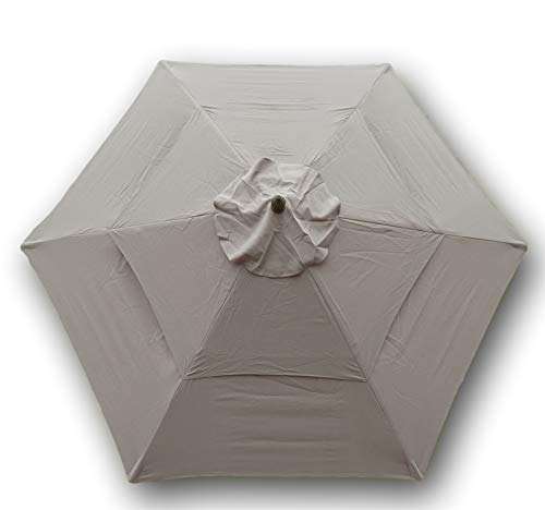 (Formosa Covers Double Vented 9ft Umbrella Replacement Canopy 6 Ribs in Taupe (Canopy Only))