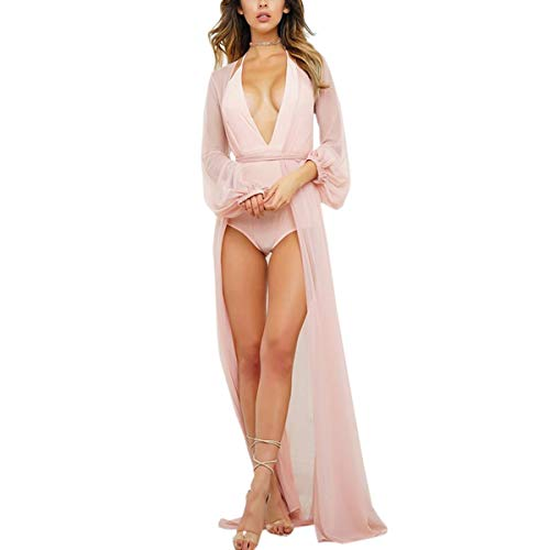 manica Sexy Cardigan Solid Pink Donna Dress Cappotto Swimsuit Sheer lunga GFSOEDIDEN Up Cover Maxi gpwqF0