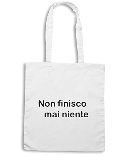 TDM00195 FINISCO Shopper Shirt NIENTE Bianca NON Borsa Speed MAI UnTIqOYY