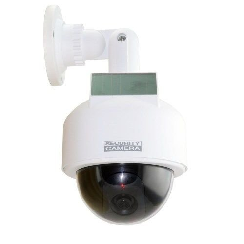 White Dummy Solar Powered Dome CCTV Camera Waterproof with Flashing LED Lights by YuFei