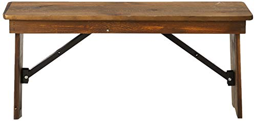 "Flash Furniture HERCULES Series 8' x 40'' Antique Rustic Folding Farm Table and Four 40.25""L Bench Set"
