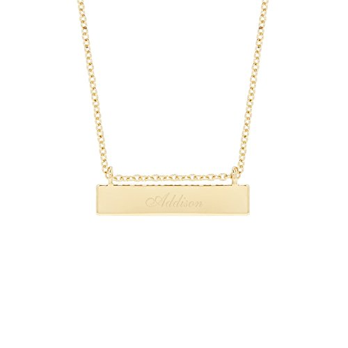 Gold Plated Custom Name Bar Necklace (16